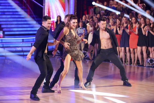 &#39;Dancing With The Stars&#39; pro dancers Sasha Farber, Jenna Johnson and Henry Byalikov dance on week 6 of the ABC show on April 21, 2014.    <span class=meta>(ABC Photo &#47; Adam Taylor)</span>