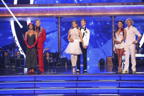 Nene Leakes and Tony Dovolani, Amy Purdy and Derek Hough and Charlie White and Sharna Burgess await their fate on week 6 of ABC&#39;s &#39;Dancing With The Stars&#39; on April 21, 2014. Leakes and Dovolani received 33 out of 40 points for their Salsa. Purdy and Hough received 38 out of 40 points for their Jive. White and Burgess received 36 out of 40 points for their Cha Cha Cha. <span class=meta>(ABC Photo &#47; Adam Taylor)</span>