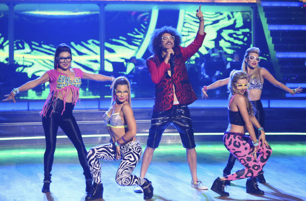 "<div class=""meta image-caption""><div class=""origin-logo origin-image ""><span></span></div><span class=""caption-text"">Redfoo of LMFAO performs with 'Dancing With The Stars' pro dancers Jenna Johnson, Emma Slater, Lindsay Arnold and Witney Carson on week 6 of ABC's 'Dancing With The Stars' on April 21, 2014. Redfoo served as a guest judge on the ABC show. (ABC Photo / Adam Taylor)</span></div>"