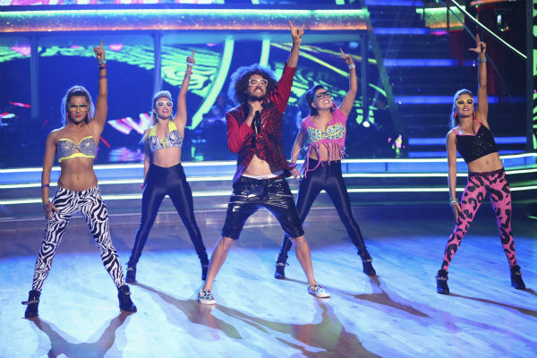 Redfoo of LMFAO performs with &#39;Dancing With The Stars&#39; pro dancers Jenna Johnson, Emma Slater, Lindsay Arnold and Witney Carson on week 6 of ABC&#39;s &#39;Dancing With The Stars&#39; on April 21, 2014. Redfoo served as a guest judge on the ABC show. <span class=meta>(ABC Photo &#47; Adam Taylor)</span>