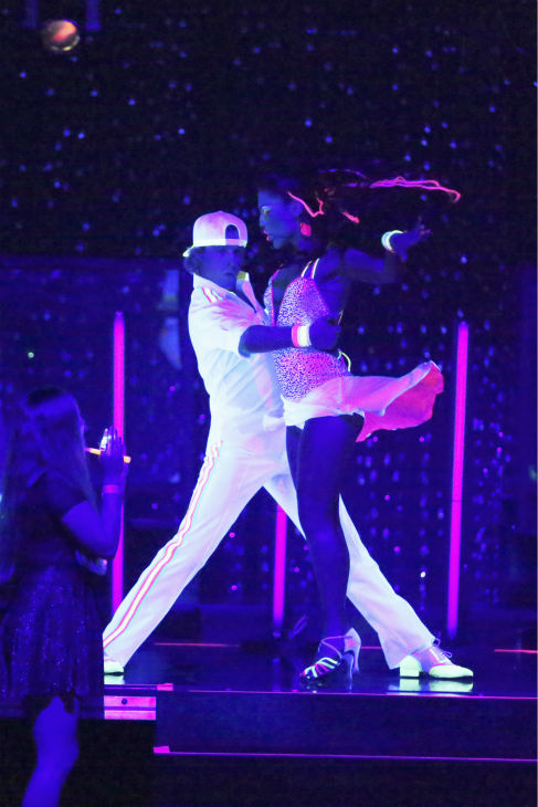 Charlie White and Sharna Burgess dance the Cha Cha Cha on week 6 of ABC&#39;s &#39;Dancing With The Stars&#39; on April 21, 2014. They received 36 out of 40 points from the judges. <span class=meta>(ABC Photo &#47; Adam Taylor)</span>