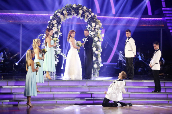 Amy Purdy and Derek Hough dance a wedding-themed Jive on week 6 of ABC&#39;s &#39;Dancing With The Stars&#39; on April 21, 2014. They received 38 out of 40 points from the judges. <span class=meta>(ABC Photo &#47; Adam Taylor)</span>