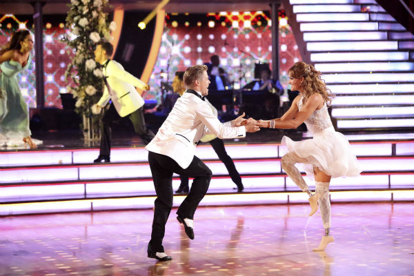 "<div class=""meta ""><span class=""caption-text "">Amy Purdy and Derek Hough dance a wedding-themed Jive on week 6 of ABC's 'Dancing With The Stars' on April 21, 2014. They received 38 out of 40 points from the judges. (ABC Photo / Adam Taylor)</span></div>"