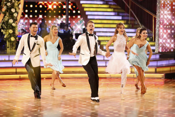 Amy Purdy and Derek Hough dance a wedding-themed Jive on week 6 of ABC&#39;s &#39;Dancing With The Stars&#39; on April 21, 2014. They received 38 out of 40 points from the judges. Also pictured: pro dancers Emma Slater, Jenna Johnson and Henry Byalikov. <span class=meta>(ABC Photo &#47; Adam Taylor)</span>