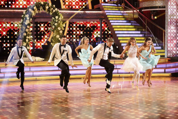 Amy Purdy and Derek Hough dance a wedding-themed Jive on week 6 of ABC&#39;s &#39;Dancing With The Stars&#39; on April 21, 2014. They received 38 out of 40 points from the judges. Also pictured: pro dancers Emma Slater, Jenna Johnson, Sasha Farber and Henry Byalikov. <span class=meta>(ABC Photo &#47; Adam Taylor)</span>