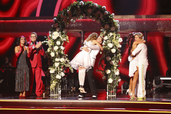 Amy Purdy and Derek Hough and Charlie White and Sharna Burgess react to being safe on week 6 of ABC&#39;s &#39;Dancing With The Stars&#39; on April 21, 2014. Purdy and Hough received 38 out of 40 points from the judges for their wedding-themed Jive. White and Burgess received 36 out of 40 points for their Cha Cha Cha. <span class=meta>(ABC Photo &#47; Adam Taylor)</span>