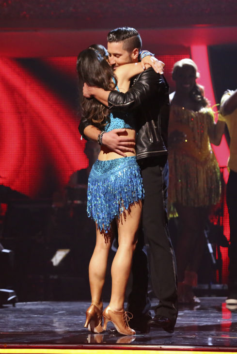 Danica McKellar and Val Chmerkovskiy, Candace Cameron Bure and Mark Ballas and Drew Carey and Cheryl Burke react to being safe on week 6 of ABC&#39;s &#39;Dancing With The Stars&#39; on April 21, 2014. They received 36 out of 40 points from the judges for their Cha Cha Cha. <span class=meta>(ABC Photo &#47; Adam Taylor)</span>