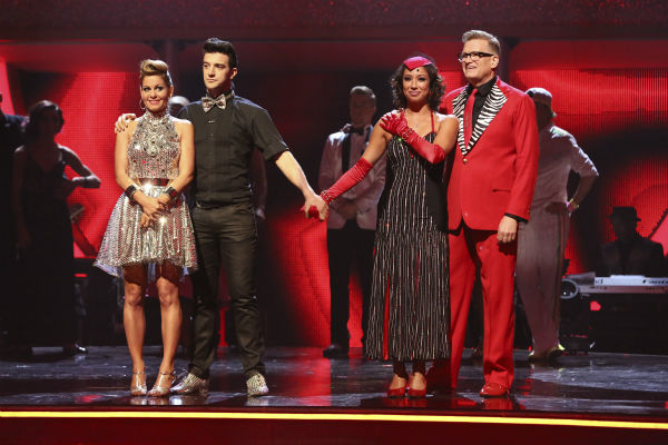 Candace Cameron Bure and Mark Ballas and Drew Carey and Cheryl Burke await their fate on week 6 of ABC&#39;s &#39;Dancing With The Stars&#39; on April 21, 2014. Bure and Ballas received 32 out of 40 points for their Cha Cha Cha. Carey and Burke received 32 out of 40 points for their Tango. <span class=meta>(ABC Photo &#47; Adam Taylor)</span>