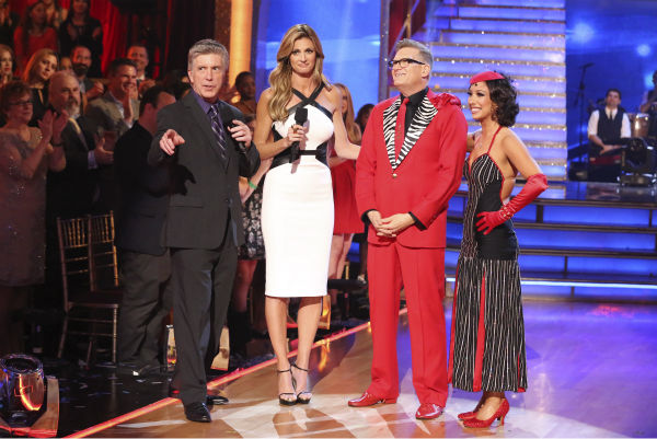 "<div class=""meta image-caption""><div class=""origin-logo origin-image ""><span></span></div><span class=""caption-text"">Drew Carey and Cheryl Burke react to being eliminated on week 6 of ABC's 'Dancing With The Stars' on April 21, 2014. They received 32 out of 40 points for their Tango, placing last, and also came in last place the week before. (ABC Photo / Adam Taylor)</span></div>"