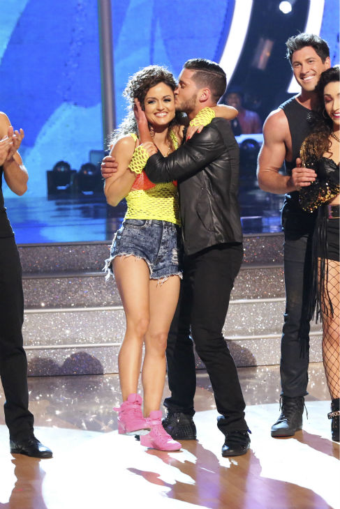 Danica McKellar and Valentin Chmerkovskiy react to being safe from elimination on week 7 of &#39;Dancing With The Stars&#39; on April 28, 2014. They received 33 out of 40 points from the judges for their Salsa. The two also danced as part of team Loca and received 39 out of 40 points from the judges. <span class=meta>(ABC Photo &#47; Adam Taylor)</span>
