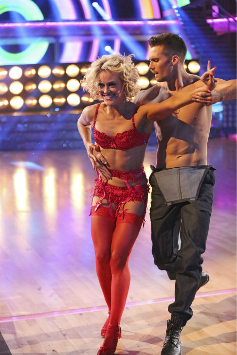 "<div class=""meta image-caption""><div class=""origin-logo origin-image ""><span></span></div><span class=""caption-text"">James Maslow and Peta Murgatroyd dance the Samba on week 7 of 'Dancing With The Stars' on April 28, 2014. They received 35 out of 40 points from the judges. The two also danced as part of team Vida and the team received 35 out of 40 points from the judges. (ABC Photo / Adam Taylor)</span></div>"