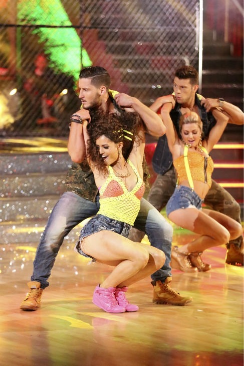 Danica McKellar and Valentin Chmerkovskiy dance the Salsa on week 7 of &#39;Dancing With The Stars&#39; on April 28, 2014. They received 33 out of 40 points from the judges. The two also danced as part of team Loca and received 39 out of 40 points from the judges. Also pictured: Henry Byallikov and Lindsay Arnold. <span class=meta>(ABC Photo &#47; Adam Taylor)</span>