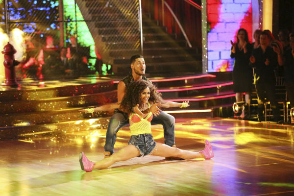 "<div class=""meta ""><span class=""caption-text "">Danica McKellar and Valentin Chmerkovskiy dance the Salsa on week 7 of 'Dancing With The Stars' on April 28, 2014. They received 33 out of 40 points from the judges. The two also danced as part of team Loca and received 39 out of 40 points from the judges. (ABC Photo / Adam Taylor)</span></div>"