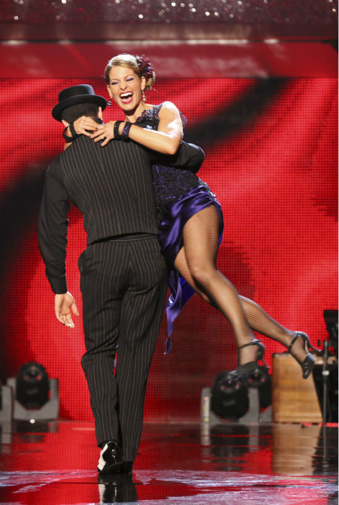 Candace Cameron Bure and Mark Ballas react to being safe on week 7 of &#39;Dancing With The Stars&#39; on April 28, 2014. They received 35 out of 40 points from the judges for their Argentine Tango. The two also danced as part of team Loca and received 39 out of 40 points from the judges. Also pictured: Meryl Davis and Maksim Chmerkovskiy. <span class=meta>(ABC Photo &#47; Adam Taylor)</span>