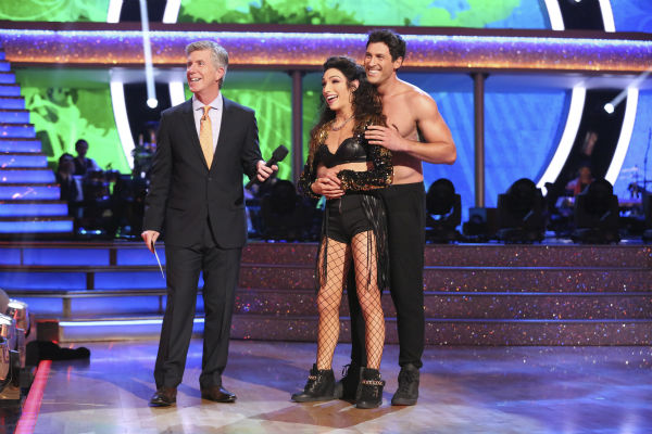 Meryl Davis and Maksim Chmerkovskiy danced the Salsa on week seven of &#39;Dancing With The Stars&#39; on April 28, 2014. They received 39 out of 40 points from the judges. The two also danced as part of team Loca and received 39 out of 40 points from the judges. <span class=meta>(ABC Photo &#47; Adam Taylor)</span>