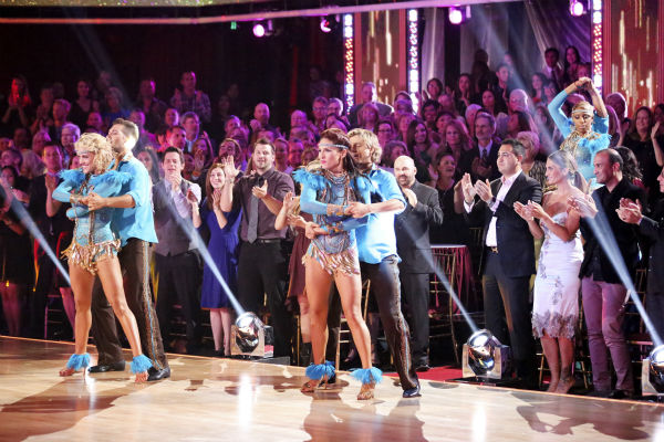 "<div class=""meta ""><span class=""caption-text "">James Maslow and Peta Murgatroyd, Charlie White and Sharna Burgess and Nene Leakes await their fate on week 7 of 'Dancing With The Stars' on Aprl 28, 2014. (ABC Photo / Adam Taylor)</span></div>"
