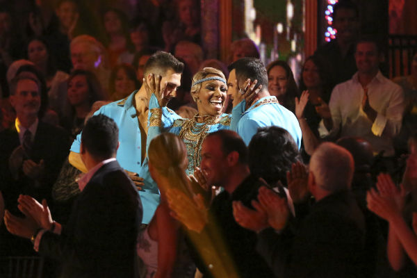 NeNe Leakes, Tony Dovolani and James Maslow dance as part of team Vida on week 7 of &#39;Dancing With The Stars&#39; on April 28, 2014. They received 35 out of 40 points from the judges. <span class=meta>(ABC Photo &#47; Adam Taylor)</span>