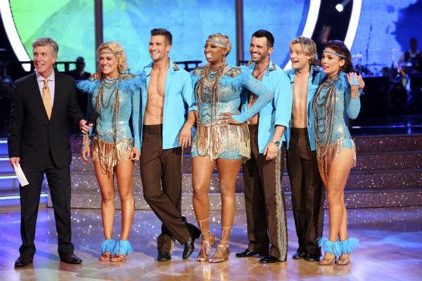 NeNe Leakes, Tony Dovolani, James Maslow, Peta Murgatroyd, Charlie White and Sharna Burgess await their fate after performing as team Vida on week 7 of &#39;Dancing With The Stars&#39; on April 28, 2014. They received 35 out of 40 points from the judges. <span class=meta>(ABC Photo &#47; Adam Taylor)</span>