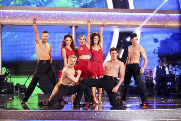 "<div class=""meta image-caption""><div class=""origin-logo origin-image ""><span></span></div><span class=""caption-text"">Amy Purdy, Derek Hough, Candace Cameron Bure, Mark Ballas, Meryl Davis, Maksim Chmerkovskiy, Danica McKellar and Valentin Chmerkovskiy dance as part of team Loca on week 7 of 'Dancing With The Stars' on April 28, 2014. They received 39 out of 40 points from the judges. (ABC Photo / Adam Taylor)</span></div>"