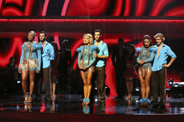 "<div class=""meta ""><span class=""caption-text "">NeNe Leakes and Tony Dovolani and James Maslow and Peta Murgatroyd and Charlie White and Sharna Burgess await their fate on week 7 of 'Dancing With The Stars' on April 28, 2014. (ABC Photo / Adam Taylor)</span></div>"