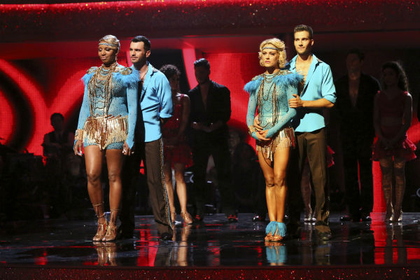 "<div class=""meta ""><span class=""caption-text "">NeNe Leakes and Tony Dovolani and James Maslow and Peta Murgatroyd await their fate on week 7 of 'Dancing With The Stars' on April 28, 2014. (ABC Photo / Adam Taylor)</span></div>"