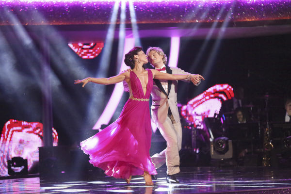 "<div class=""meta ""><span class=""caption-text "">Charlie White and Sharna Burgess dance the Quickstep on week 8 of 'Dancing With The Stars' on May 5, 2014. They received 40 out of 40 points from the judges. He also scored 38 out of 40 points with Candace Cameron Bure for their Contemporary routine during the celebrity dance duel. (ABC Photo / Adam Taylor)</span></div>"