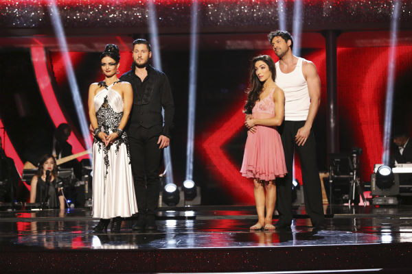 "<div class=""meta image-caption""><div class=""origin-logo origin-image ""><span></span></div><span class=""caption-text"">Danica McKellar and Val Chmerkovskiy and Meryl Davis and Maksim Chmerkovskiy await their fate on week 8 of 'Dancing With The Stars' on May 5, 2014. McKellar and Val received 38 out of 40 points from the judges for their Tango. She also scored 34 out of 40 points with Davis for their Samba routine during the celebrity dance duel. Davis and Maksim also received 36 out of 40 points from the judges for their Rumba. (ABC Photo / Adam Taylor)</span></div>"
