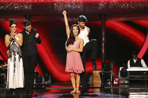 "<div class=""meta ""><span class=""caption-text "">Meryl Davis and Maksim Chmerkovskiy react to being safe from elimination on week 8 of 'Dancing With The Stars' on May 5, 2014. They received 36 out of 40 points from the judges for their Rumba. She also scored 34 out of 40 points with Danica McKellar for their Samba routine during the celebrity dance duel. (ABC Photo / Adam Taylor)</span></div>"