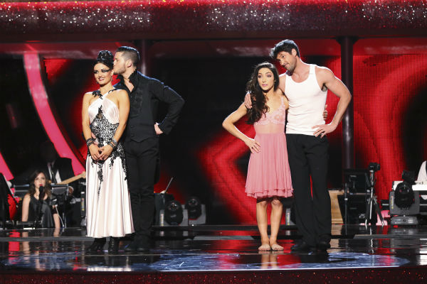 Danica McKellar and Val Chmerkovskiy and Meryl Davis and Maksim Chmerkovskiy await their fate on week 8 of &#39;Dancing With The Stars&#39; on May 5, 2014. McKellar and Val received 38 out of 40 points from the judges for their Tango. She also scored 34 out of 40 points with Davis for their Samba routine during the celebrity dance duel. Davis and Maksim also received 36 out of 40 points from the judges for their Rumba. <span class=meta>(ABC Photo &#47; Adam Taylor)</span>