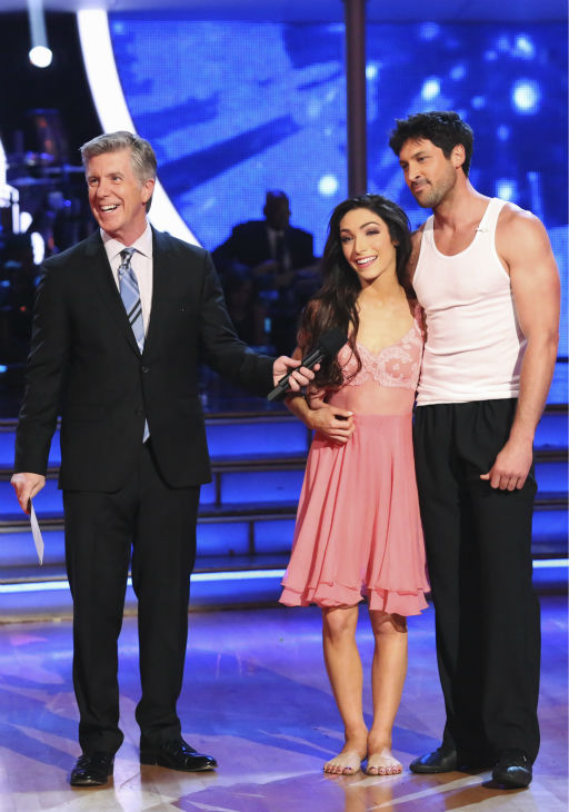 Meryl Davis and Maksim Chmerkovskiy danced the Rumba on week 8 of &#39;Dancing With The Stars&#39; on May 5, 2014. They received 36 out of 40 points from the judges. She also scored 34 out of 40 points with Danica McKellar for their Samba routine during the celebrity dance duel. <span class=meta>(ABC Photo &#47; Adam Taylor)</span>
