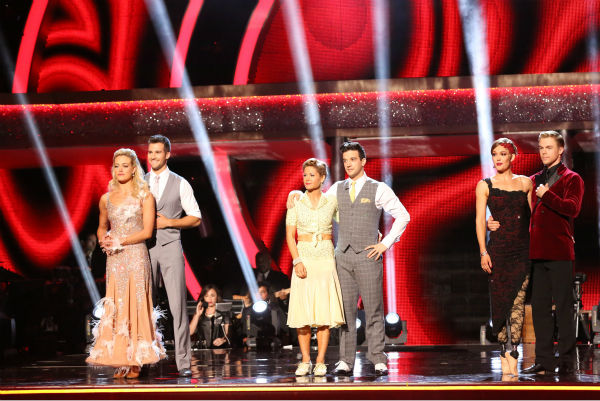 James Maslow and Peta Murgatroyd, Candace Cameron Bure and Mark Ballas and Amy Purdy and Derek Hough await their fate on week 8 of &#39;Dancing With The Stars&#39; on May 5, 2014. Maslow and Murgatroyd received 36 out of 40 points from the judges for their Viennese Waltz. He also scored 39 out of 40 points with Purdy for their Jive during the celebrity dance duel. Purdy and Hough also received 40 out of 40 points for their Argentine Tango. Bure and Ballas received 36 out of 40 points from the judges for their Foxtrot. She also scored 38 out of 40 points with Charlie White for their Contemporary routine during the celebrity dance duel. PETA MURGATROYD, JAMES MASLOW, CANDACE CAMERON BURE, MARK BALLAS, AMY PURDY, DEREK HOUGH <span class=meta>(ABC Photo &#47; Adam Taylor)</span>