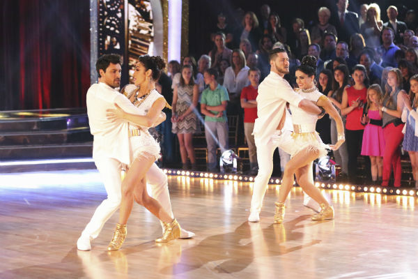 "<div class=""meta ""><span class=""caption-text "">Meryl Davis and Maksim Chmerkovskiy dance the Samba with Danica McKellar and Valentin Chmerkovskiy during a celebrity dance duel on week 8 of 'Dancing With The Stars' on May 5, 2014. They scored 34 out of 40 points. (ABC Photo / Adam Taylor)</span></div>"
