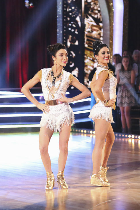 Meryl Davis dances the Samba with Danica McKellar and Valentin Chmerkovskiy during a celebrity dance duel on week 8 of &#39;Dancing With The Stars&#39; on May 5, 2014. They scored 34 out of 40 points. <span class=meta>(ABC Photo &#47; Adam Taylor)</span>