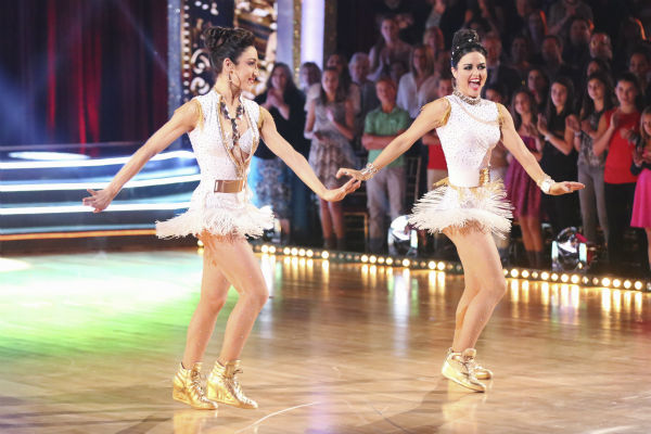 "<div class=""meta image-caption""><div class=""origin-logo origin-image ""><span></span></div><span class=""caption-text"">Meryl Davis dances the Samba with Danica McKellar and Valentin Chmerkovskiy during a celebrity dance duel on week 8 of 'Dancing With The Stars' on May 5, 2014. They scored 34 out of 40 points. (ABC Photo / Adam Taylor)</span></div>"