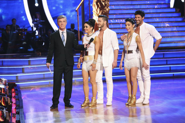 "<div class=""meta image-caption""><div class=""origin-logo origin-image ""><span></span></div><span class=""caption-text"">Meryl Davis and Maksim Chmerkovskiy danced the Samba with Danica McKellar and Valentin Chmerkovskiy during a celebrity dance duel on week 8 of 'Dancing With The Stars' on May 5, 2014. They scored 34 out of 40 points. (ABC Photo / Adam Taylor)</span></div>"
