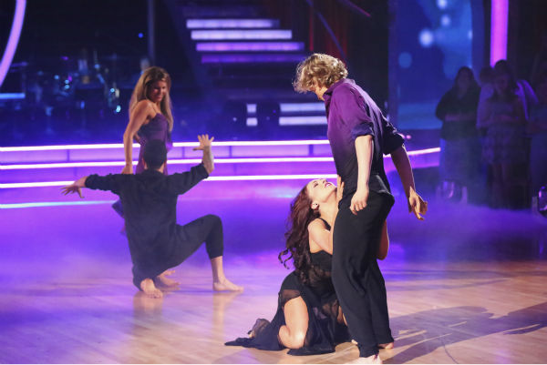 "<div class=""meta image-caption""><div class=""origin-logo origin-image ""><span></span></div><span class=""caption-text"">Candace Cameron Bure, Mark Ballas, Charlie White and Sharna Burgess appear during their celebrity dance duel routine on week 8 of 'Dancing With The Stars' on May 5, 2014. They scored 38 out of 40 points for their Contemporary routine. (ABC Photo / Adam Taylor)</span></div>"