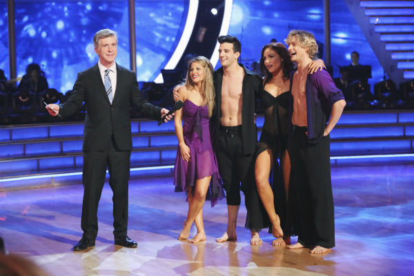 "<div class=""meta ""><span class=""caption-text "">Candace Cameron Bure, Mark Ballas, Charlie White and Sharna Burgess danced a celebrity dance duel routine on week 8 of 'Dancing With The Stars' on May 5, 2014. They scored 38 out of 40 points for their Contemporary routine. (ABC Photo / Adam Taylor)</span></div>"