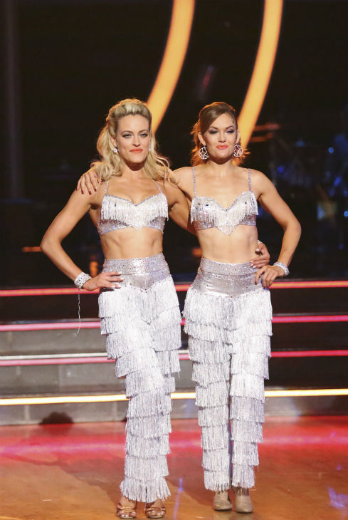James Maslow&#39;s partner Peta Murgatroyd and Amy Purdy appear during their celebrity dance duel routine on week 8 of &#39;Dancing With The Stars&#39; on May 5, 2014. They scored 39 out of 40 points for their Jive. <span class=meta>(ABC Photo &#47; Adam Taylor)</span>