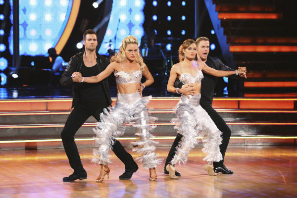 "<div class=""meta ""><span class=""caption-text "">James Maslow and Peta Murgatroyd and Amy Purdy and Derek Hough appear during their celebrity dance duel routine on week 8 of 'Dancing With The Stars' on May 5, 2014. They scored 39 out of 40 points for their Jive. (ABC Photo / Adam Taylor)</span></div>"