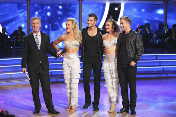 "<div class=""meta ""><span class=""caption-text "">James Maslow and Peta Murgatroyd and Amy Purdy and Derek Hough danced a celebrity dance duel routine on week 8 of 'Dancing With The Stars' on May 5, 2014. They scored 39 out of 40 points for their Jive. (ABC Photo / Adam Taylor)</span></div>"