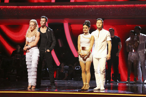 James Maslow and Peta Murgatroyd and Danica McKellar and Valentine Chmerkovskiy await their fate on week eight of &#39;Dancing With The Stars&#39; on May 5, 2014. Maslow and Murgatroyd received 36 out of 40 points from the judges for their Viennese Waltz. He also scored 39 out of 40 points with Amy Purdy for their Jive during the celebrity dance duel. McKellar and Chmerkovskiy received They received 38 out of 40 points from the judges. She also scored 34 out of 40 points with Meryl Davis for their Samba routine during the celebrity dance duel. <span class=meta>(ABC Photo &#47; Adam Taylor)</span>