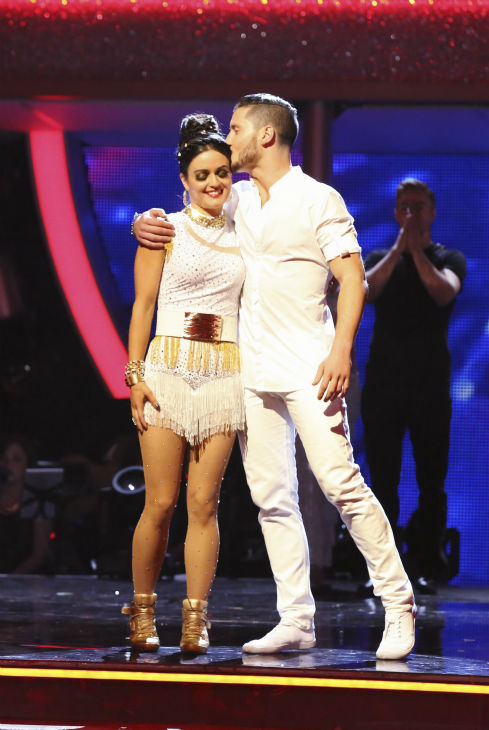 "<div class=""meta ""><span class=""caption-text "">Danica McKellar and Valentin Chmerkovskiy react to being eliminated on week 8 of 'Dancing With The Stars' on May 5, 2014. They received 38 out of 40 points from the judges for their Tango. She also scored 34 out of 40 points with Meryl Davis for their Samba routine during the celebrity dance duel. (ABC Photo / Adam Taylor)</span></div>"
