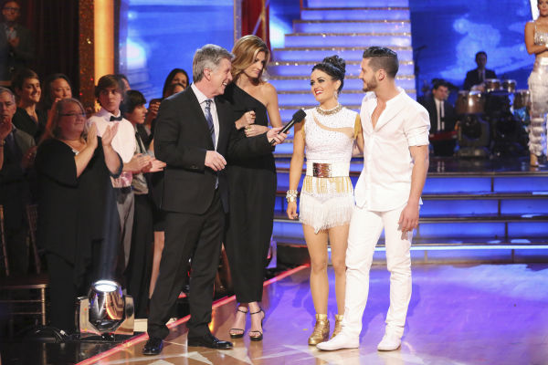 "<div class=""meta image-caption""><div class=""origin-logo origin-image ""><span></span></div><span class=""caption-text"">Danica McKellar and Valentin Chmerkovskiy react to being eliminated on week 8 of 'Dancing With The Stars' on May 5, 2014. They received 38 out of 40 points from the judges for their Tango. She also scored 34 out of 40 points with Meryl Davis for their Samba routine during the celebrity dance duel. (ABC Photo / Adam Taylor)</span></div>"