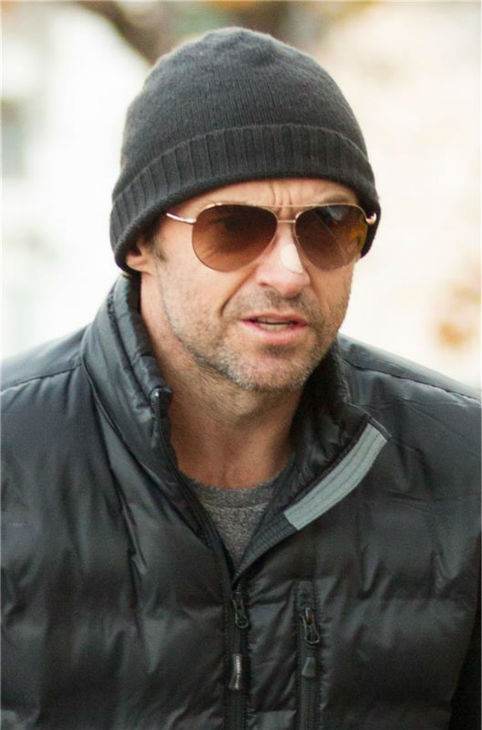 Hugh Jackman is seen in New York City on Nov. 19, 2013. (Not pictured: His scooter)