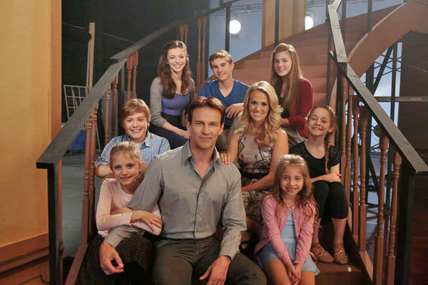 Stephen Moyer as Captain Georg Von Trapp, Carrie Underwood as Maria with &#40;l-r&#41; Grace Rundhaug as Marta, Joe West as Kurt, Ariane Rinehart as Liesl, Michael Nigro as Friedrich, Ella Watts-Gorman as Luisa, Peyton Ella as Gretl, Peyton Ella as Gretl appear in a photo from &#39;The Sound of Music Live!&#39; rehearsal. The show airs on Dec. 5, 2013. <span class=meta>(Giovanni Rufino&#47;NBC)</span>