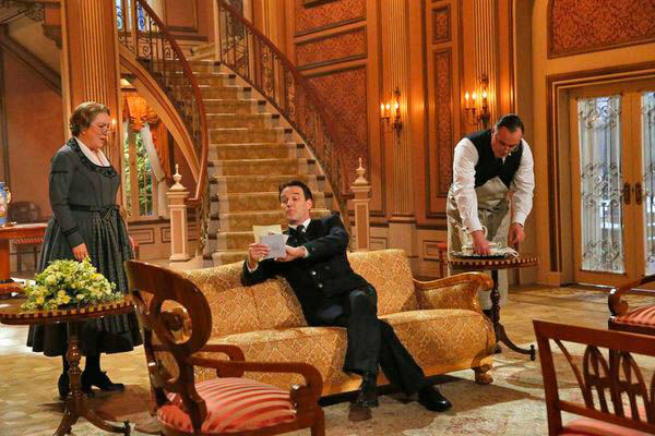 Kristine Nielson as Frau Schmidt, Stephen Moyer as Captain Von Trapp, Sean Cullen as Franz appear in a photo from &#39;The Sound of Music Live!&#39; rehearsal. The show airs on Dec. 5, 2013. <span class=meta>(Will Hart&#47;NBC)</span>