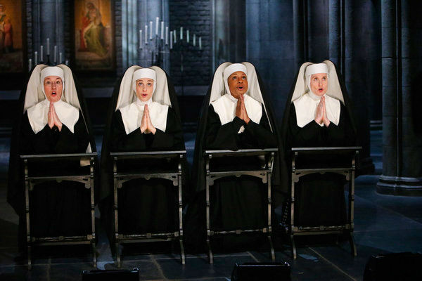 Jessica Morley as Sister Berthe, Elena Shaddow as Sister Sophia, Audra McDonald as Mother Abbess, Christiane Noll as Margaretta appear in a photo from &#39;The Sound of Music Live!&#39; rehearsal. The show airs on Dec. 5, 2013. <span class=meta>(Will Hart&#47;NBC)</span>