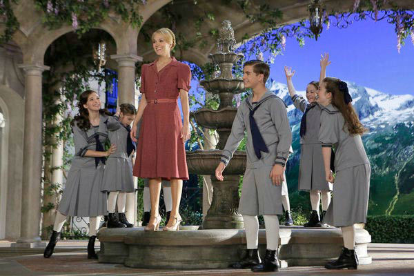 Ariane Rinehart as Liesl, Peyton Ella as Gretl, Carrie Underwood as Maria, Michael Nigro as Friedrich, Sophia Ann-Caruso as Brigitta, Ella Watts-Gorman as Louisa appear in a photo from &#39;The Sound of Music Live!&#39; rehearsal. The show airs on Dec. 5, 2013. <span class=meta>(Paul Drinkwater&#47;NBC)</span>