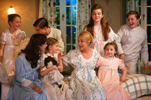 Sophia Ann Caruso as Brigitta, Ariane Rinehart as Liesl, Michael Nigro as Friedrich, Grace Rundhaug as Marta, Carrie Underwood as Maria, Ella Watts-Gorman as Louisa, Peyton Ella as Gretl, Joe West as Kurt appear in a photo from &#39;The Sound of Music Live!&#39; rehearsal. The show airs on Dec. 5, 2013. <span class=meta>(Will Hart&#47;NBC)</span>