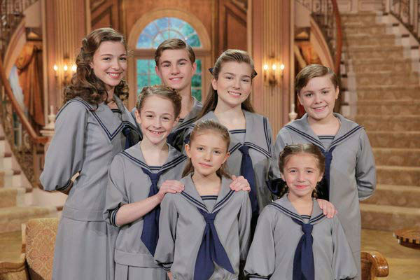 Ariane Rinehart as Liesl, Michael Nigro as Friedrich, Ella Watts-Gorman as Louisa, Joe West as Kurt; &#40;l-r, front&#41; Sophia Ann Caruso as Brigitta, Grace Rundhaug as Marta, Peyton Ella as Gretl appear in a photo from &#39;The Sound of Music Live!&#39; rehearsal. The show airs on Dec. 5, 2013. <span class=meta>(Paul Drinkwater&#47;NBC)</span>